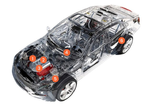 Vehicle image showing inner working of car