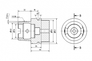 Technical drawing of a machined part